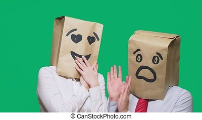 concept of emotions, gestures. a couple of people with bags...