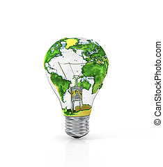 Concept of energy resource. Light bulb with planet Earth isolated on white background.
