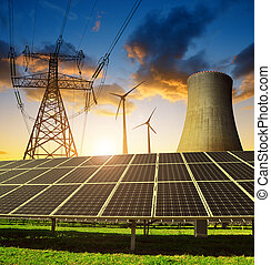 Concept of energy resources. - Solar panels in the...