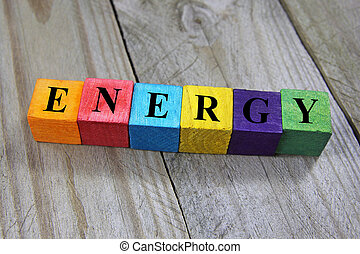 concept of energy word on wooden colorful cubes