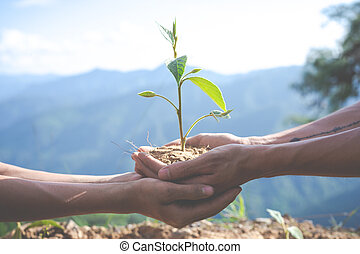 Concept of environmental conservation in the garden for children.