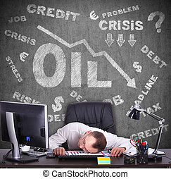 concept of falling oil prices on the world market