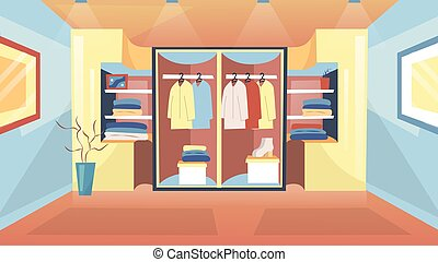 Concept Of Fashion Wardrobe. Home Modern Wardrobe With Clothes For Man And Woman With Beautiful Lighting. Neatly Folded Different Clothes In Home Cupboard. Cartoon Flat Style. Vector Illustration