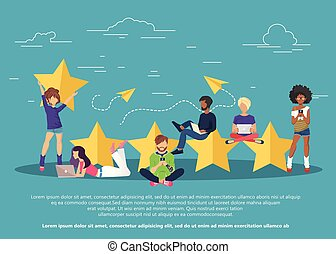 Concept of feedback, testimonials messages and notifications. Rating on customer service illustration.