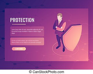Concept of finance safety and risk protection, businessman with shield, data protection isometric vector banner 3d