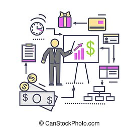 Concept of Financial Analysis Icon Flat