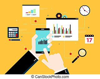 Concept of financial investment, analytics with growth report.