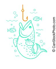 concept of fishing linear style - concept of fishing in the...