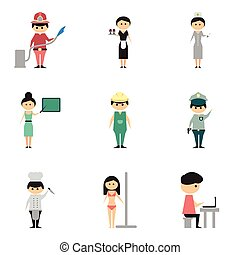Concept of flat icons on white background people profession