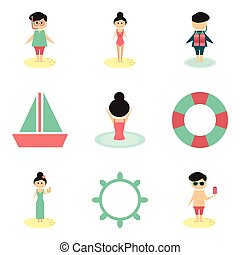 Concept of flat icons on white background people relaxing beach