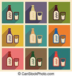 Concept of flat icons with long shadow glass bottle