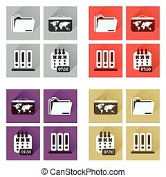 Concept of flat icons with long shadow office