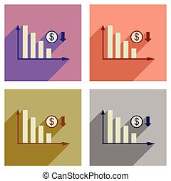 Concept of flat icons with long shadow money graph