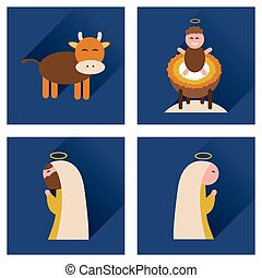 Concept of flat icons with long shadow Christmas