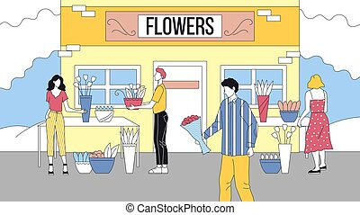 Concept Of Flower Shop. Male Characters Buys Bouquet Of Beautiful Flowers For Their Girlfriends Or Wives At Florist. Woman Helps To Choose Best One. Cartoon Linear Outline Flat Vector Illustration