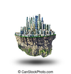 Concept of freedom. Island in sky with city on white background. Safety island concept. Religion.
