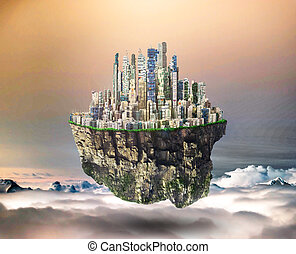 Concept of freedom. Island in sky with city on dead sky background. Safety island concept. Religion.