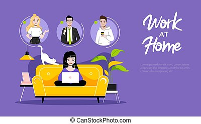 Concept Of Freelance Remote Work. Website Landing Page. Girl Freelancer Typing On Laptop. Woman Communicate With Friends On Internet. Web Page Cartoon Linear Outline Flat Style. Vector Illustration