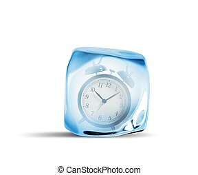 Concept of freeze time with alarm inside the ice