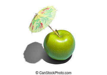 Concept of fresh green apple with a umbrella isolated on white background.