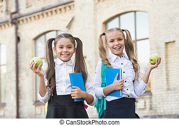 concept of friendship. little pupil with notebook and apple. lunch time at school break. happy kids in uniform. learning subject together. modern education for girls. book reading