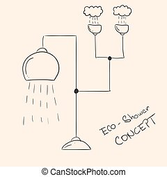 Concept of futuristic ecological shower with water collection from rain.
