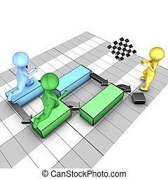 Concept of gantt chart. A team completes tasks. The flagman...