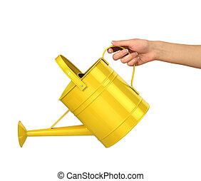 Concept of gardening. Woman hand hold the yellow watering can isolated on a white background.