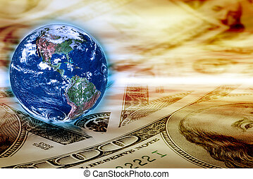 Concept of global business - Earth globe and banknotes on...