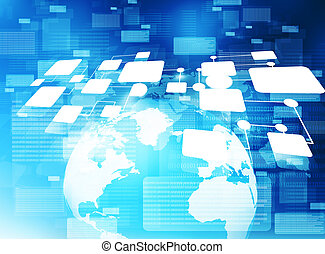 Concept of Global business network. 3d illustration