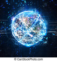 Concept of global internet connection network . World...