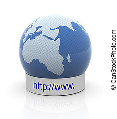 Concept of global web browsing - 3d render of globe with...