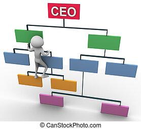 Concept of goal achievement - 3d man climbing on...