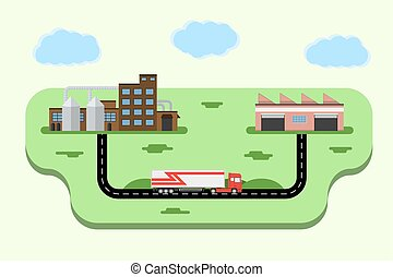 Concept of goods delivery. Logistics metaphor.