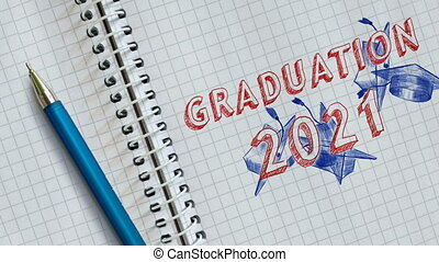 University graduates throwing academic caps up. Text GRADUATION 2021 and academic caps drawn on sheet of notebook. Graduation day. Happy students graduates toss up caps. Congratulation graduates