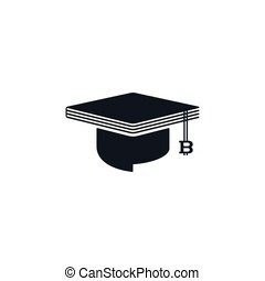 Concept of graduation cap with bitcoin and book shaped -...