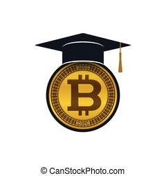 Concept of graduation cap with bitcoin - Graduation cap with...