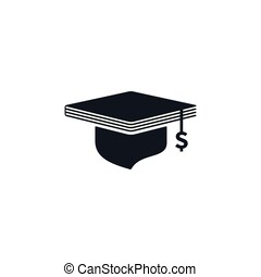 Concept of graduation cap with dollar sign and book shaped -...