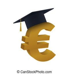 Concept of graduation cap with euro symbol - Graduation cap...