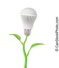 Concept of green energy. The LED light bulb on stem of plant on a white background.