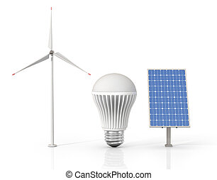 Concept of green energy. Wind tower, LED light bulb and solar energy panel isolated on a white background.