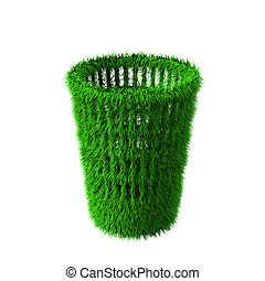 Concept of green transparent rendered bin with grass material on top