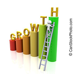 Concept of growth - 3d man climbing ladder of growth