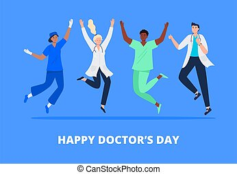 Concept of happy doctor's day. Multicultural group of people jumping with raised hands in various poses. Doctors, surgeons, nurses rejoicing together. Vector flat style.