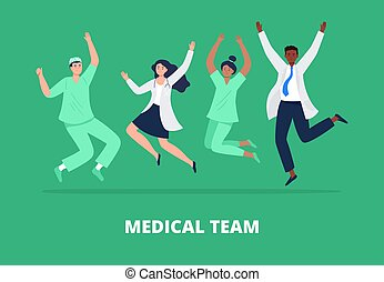 Concept of happy medicine team. Multicultural group of people jumping with raised hands in various poses. Doctors and nurses rejoicing together. Vector flat style.