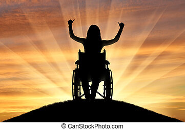 Concept of happy people with disabilities