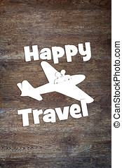 Concept of happy travel by the plane