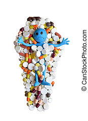 Concept of harm pills. The little man is drowning in pills