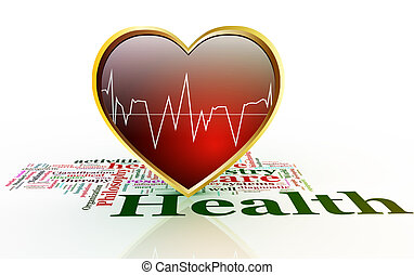 3d shiny heart with waveform on background of health wordcloud.