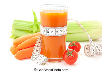 Concept of healthy food and diet - Glass of vegetable juice...